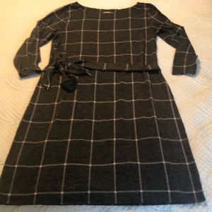 Ann Taylor Loft Gray Windowpane Dress